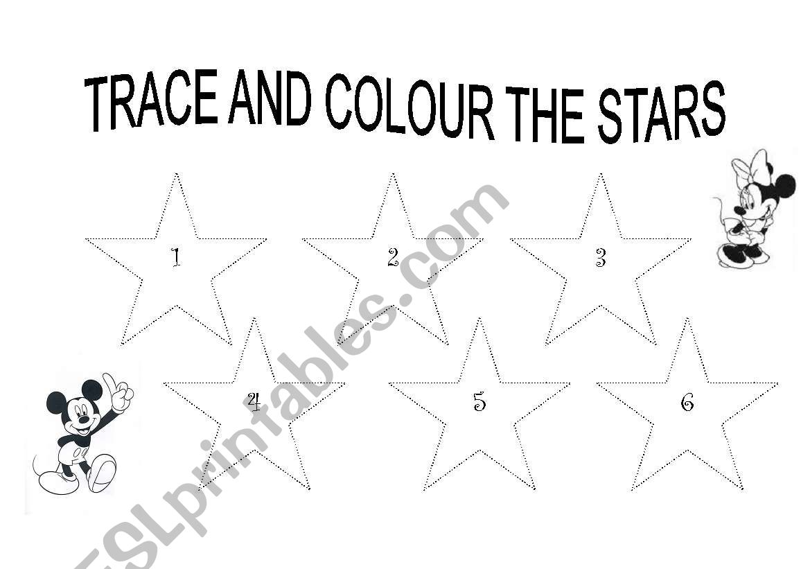 English Worksheets Trace And Colour The Stars