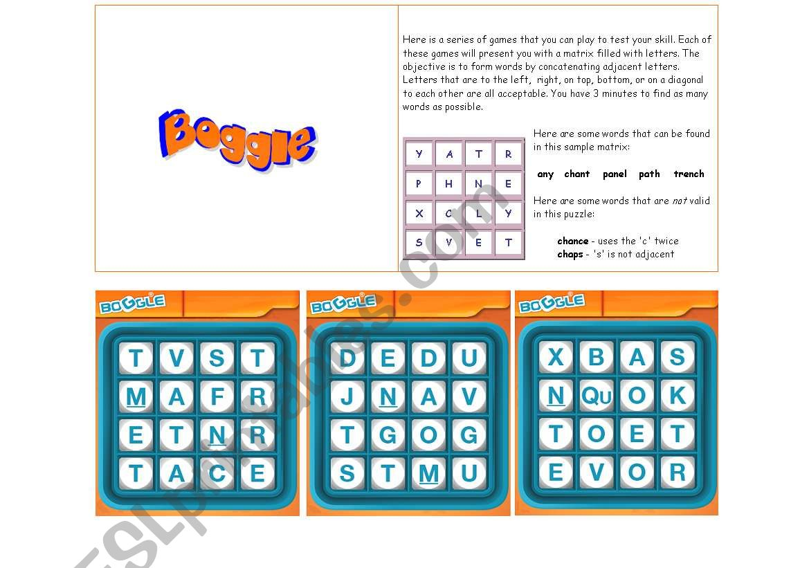 Boggle And Word In A Word