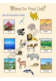 Animal Habitats - 2 exercises - ESL worksheet by Anna P
