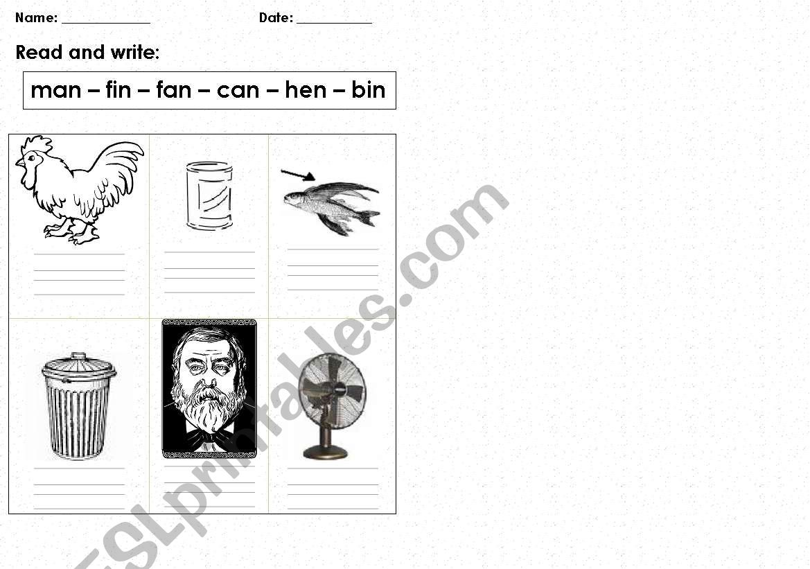 English Worksheets Three Letter Words