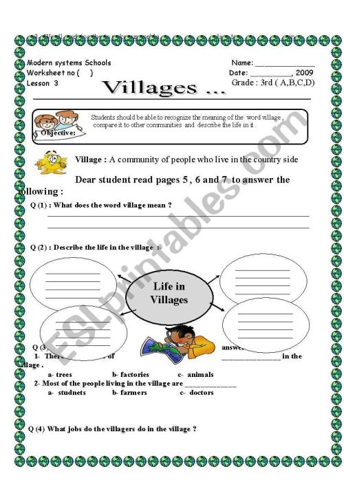 small resolution of English worksheets: Vilages Social studies