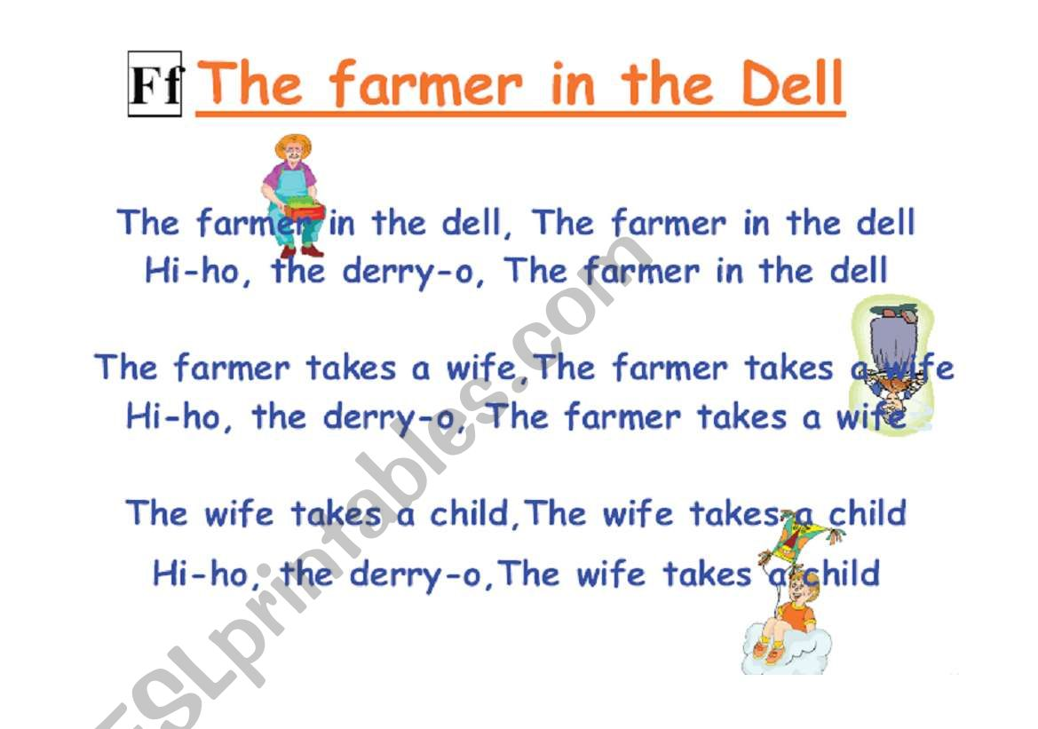 English Worksheets The Farmer In The Dell Song Chart