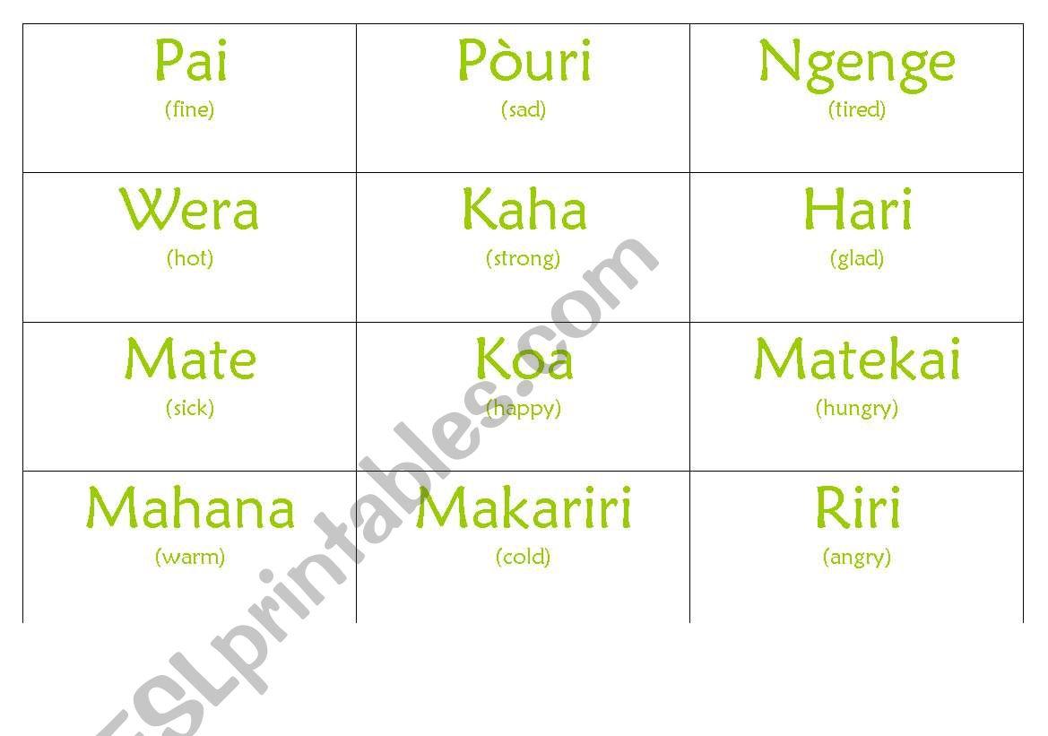 English Worksheets Maori Feelings Chart