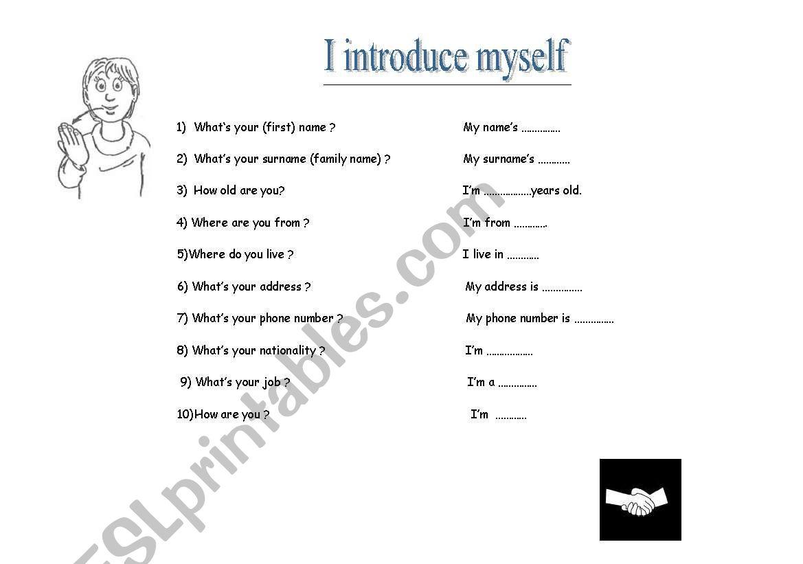 English Worksheets I Introduce Myself