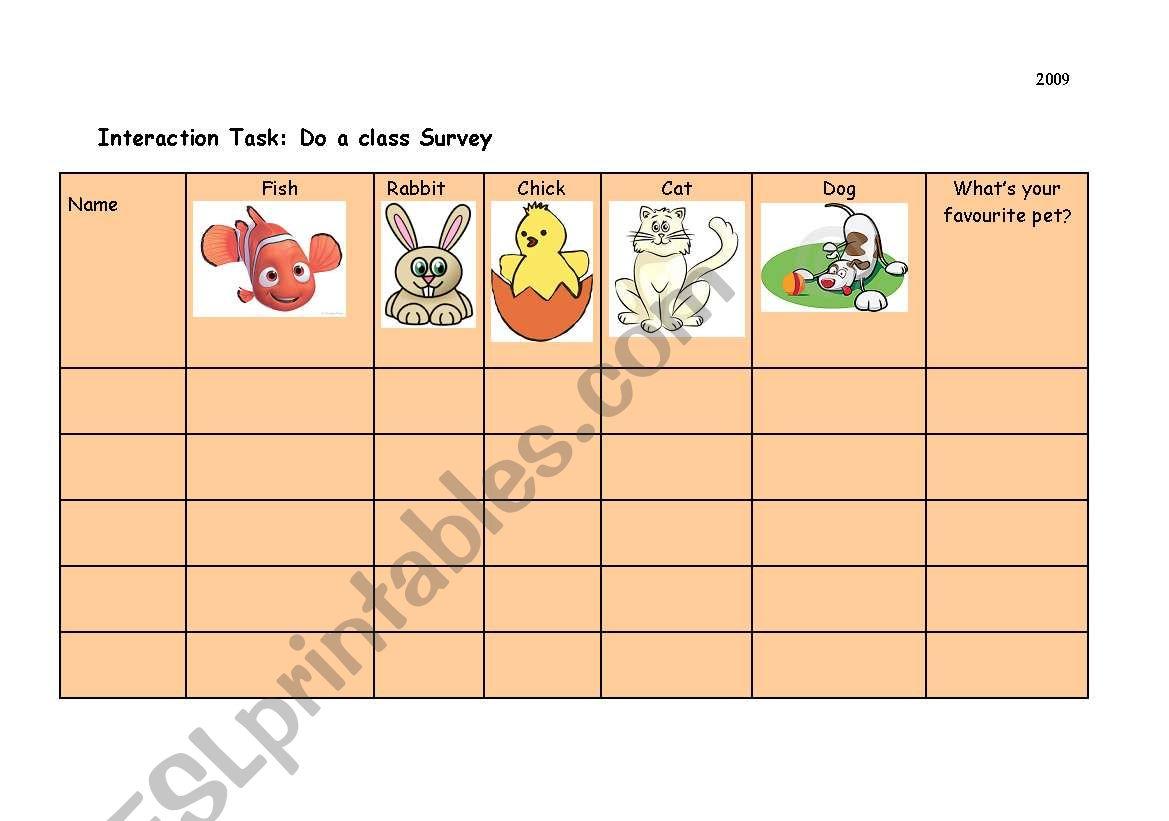 English Worksheets Pet Class Survey