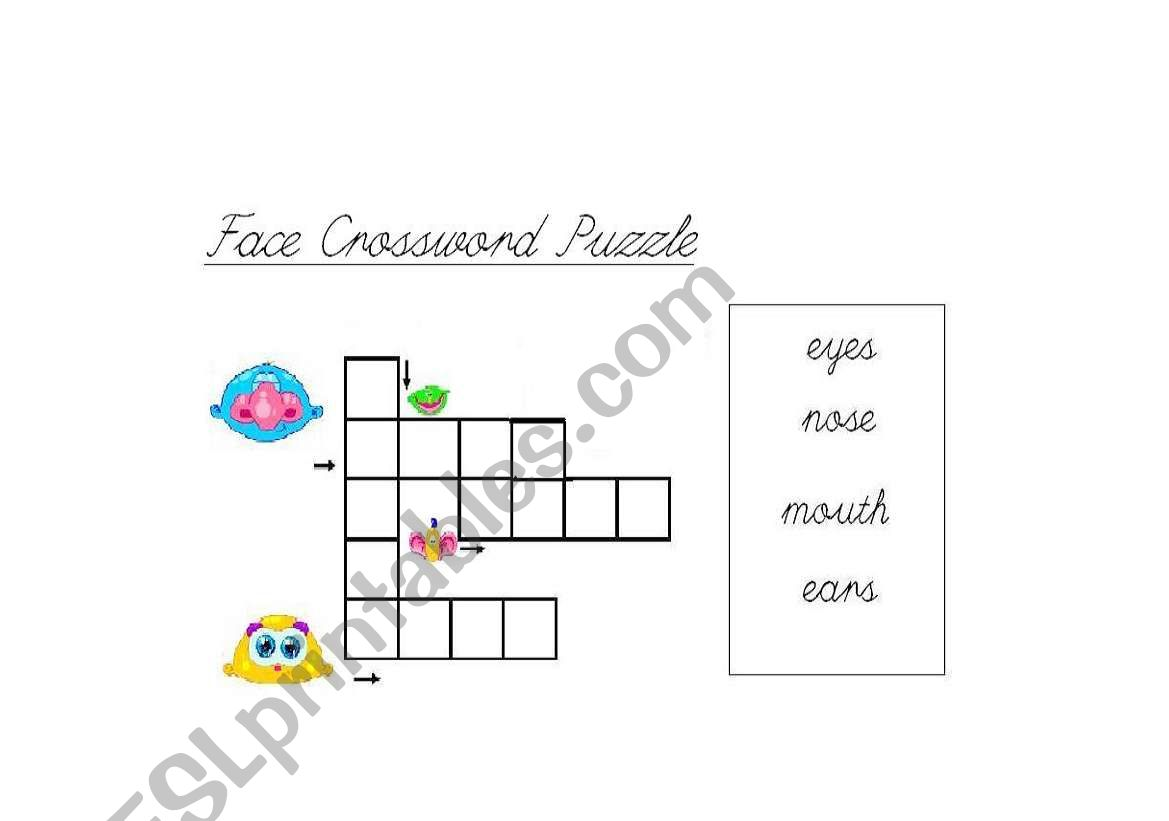 English Worksheets Parts Of The Face Crossword Puzzle