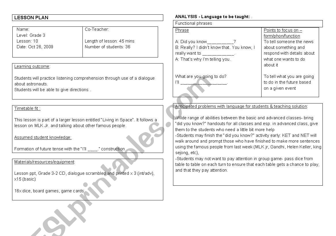 English Worksheets Living In Space Lesson Plan