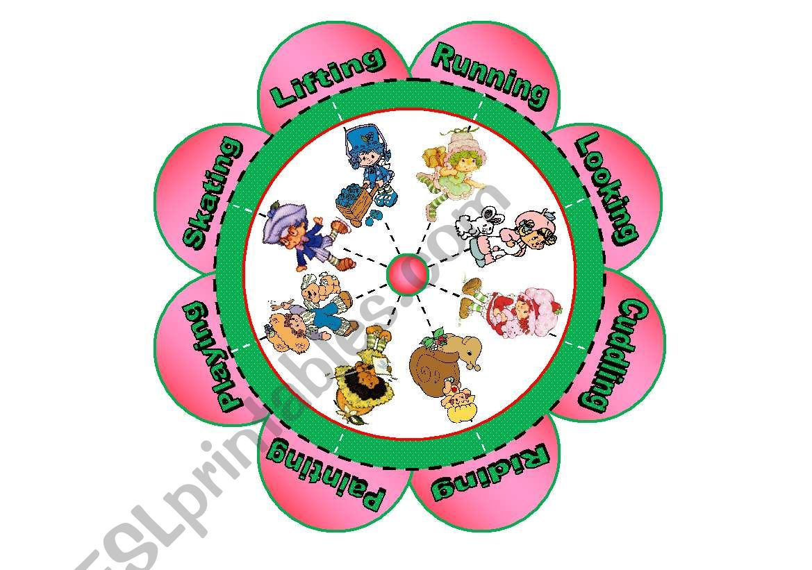 Verb Flower Puzzle With Strawberry Shortcake Characters