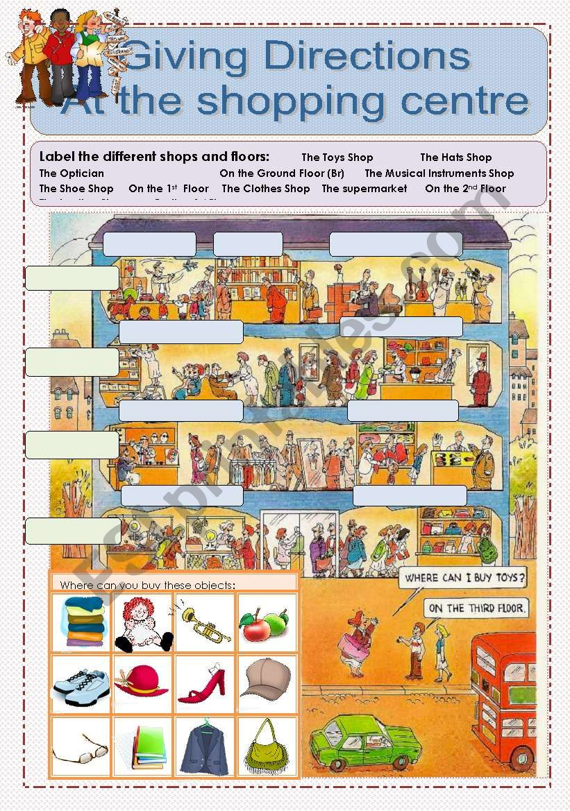 Giving Directions WS Nr1 At the Shopping Centre - ESL worksheet by lilianac