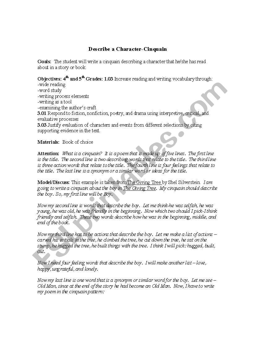 hight resolution of English worksheets: describe