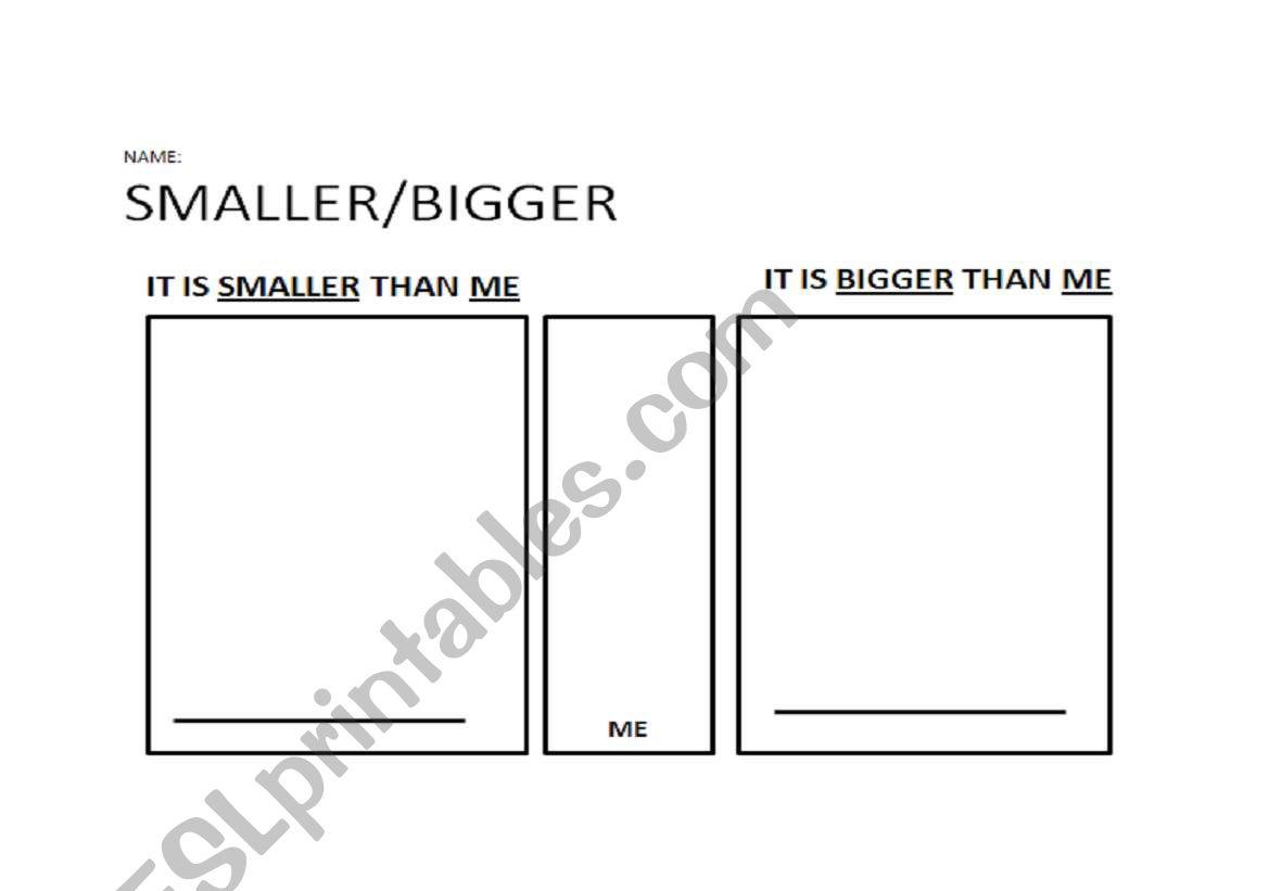 English Worksheets Smaller Bigger Than Me