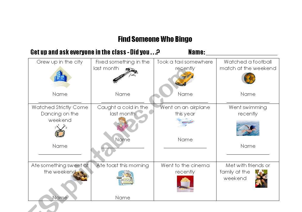 English Worksheets Find Someone Who Bingo 2