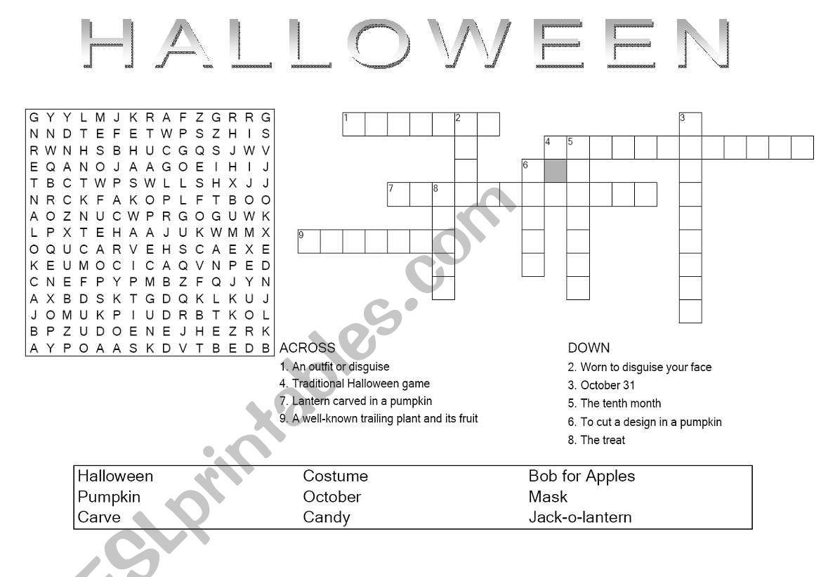 Halloween Crossword And Wordsearch