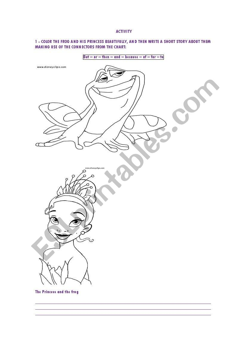 English worksheets: coloring and writing about the