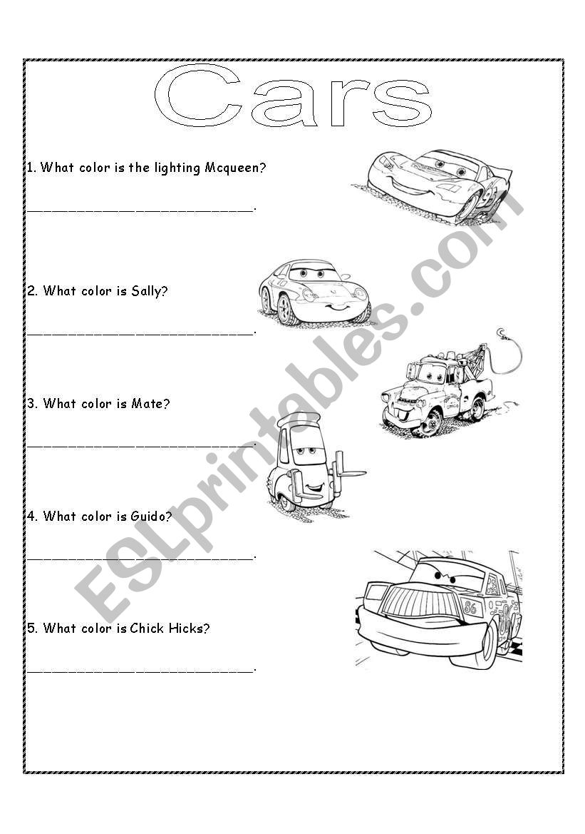English worksheets: Cars The Movie