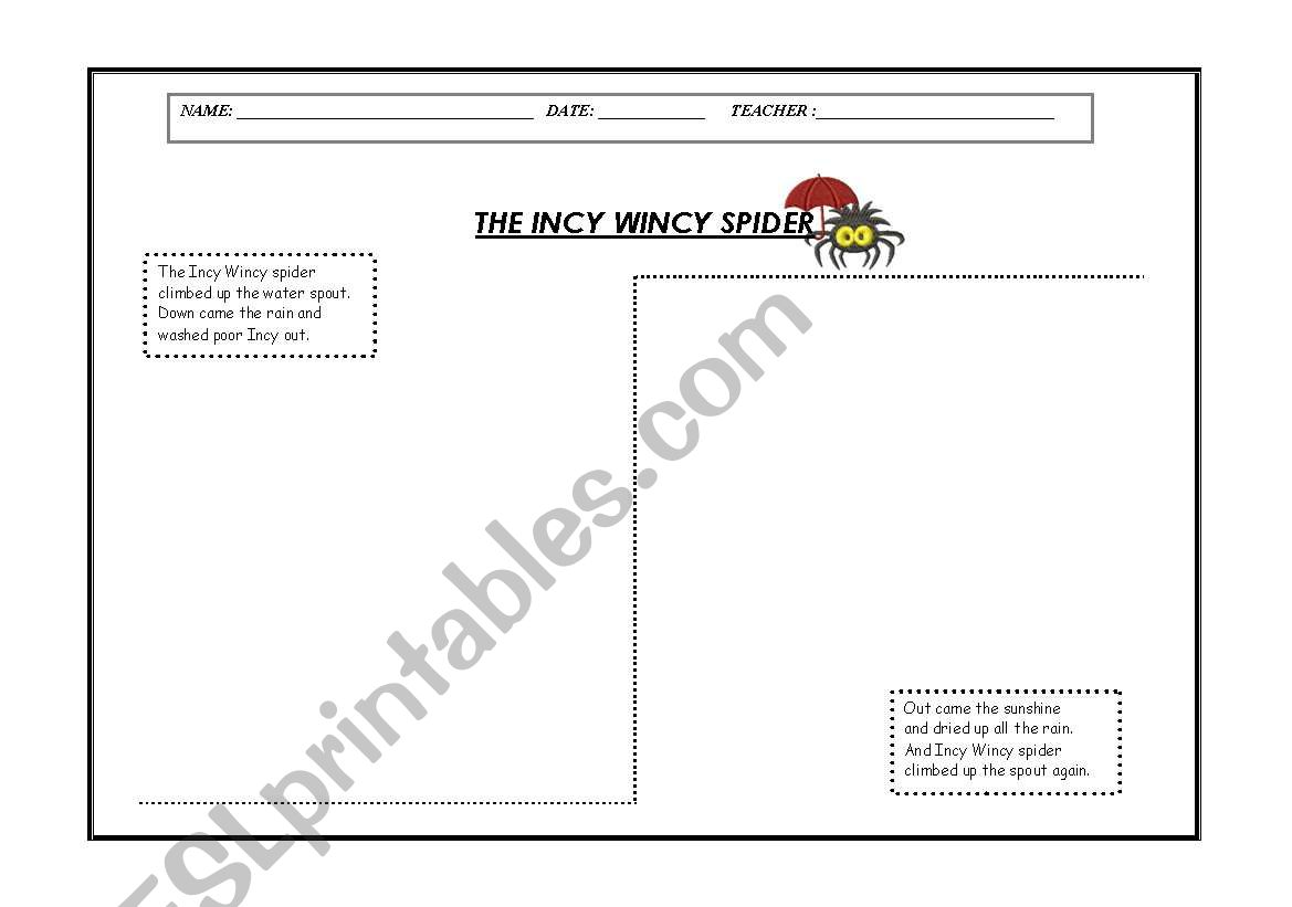 English Worksheets The Incy Wincy Spider