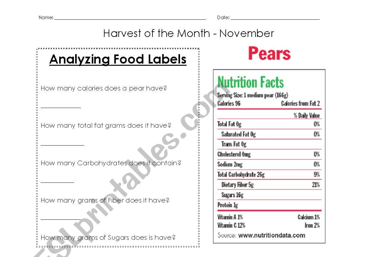 Nutrition Labels Worksheet