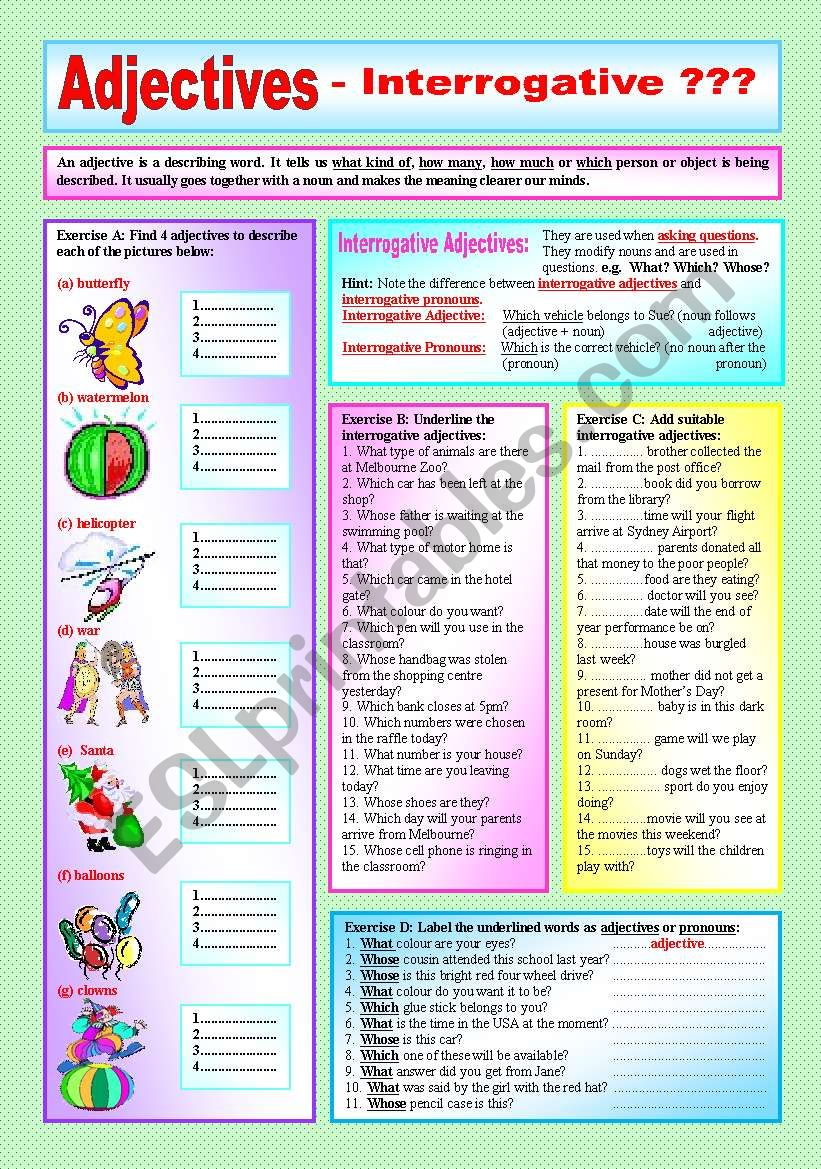 "hight resolution of ADJECTIVES"" - Interrogative Adjectives \u0026 Interrogative Pronouns-  ((Elementary/intermediate)) - Explanation \u0026 4 Exercises with approx. 45  sentences to complete - (( B\u0026W VERSION INCLUDED )) - ESL worksheet by  ranclaude"