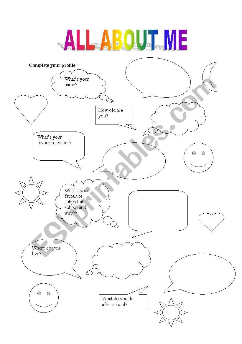English worksheets: All about me and myself.
