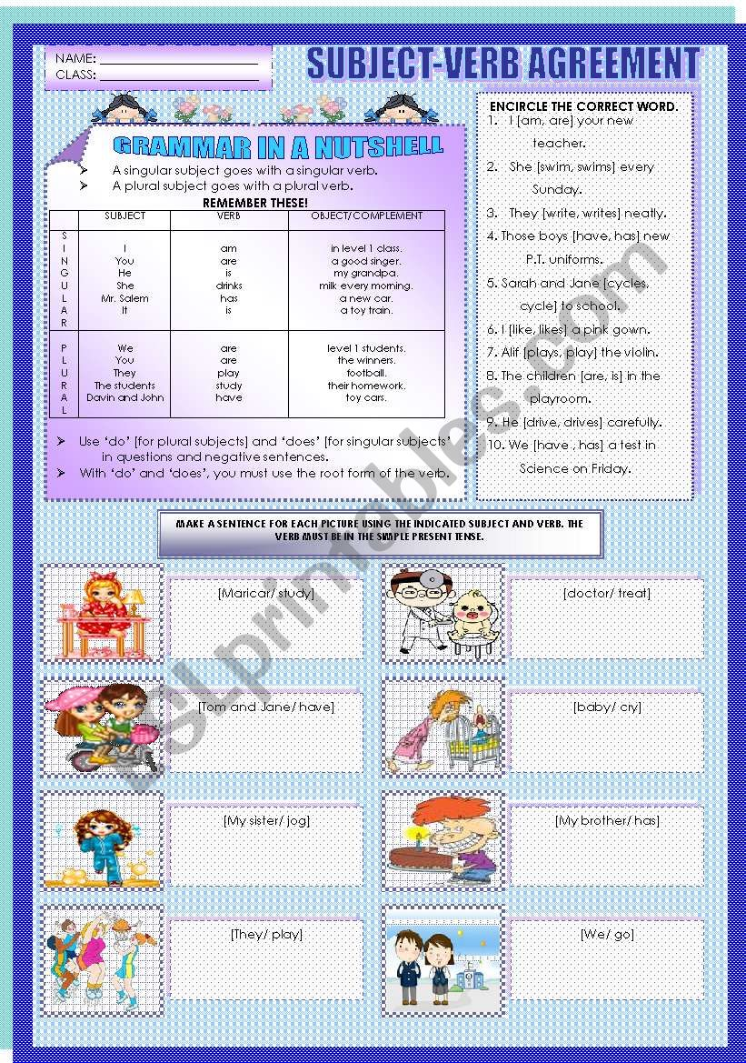 hight resolution of SUBJECT-VERB AGREEMENT - ESL worksheet by mavic15