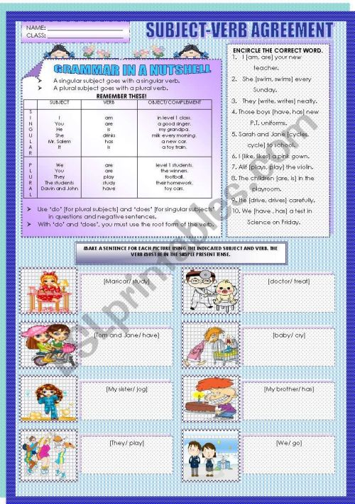 small resolution of SUBJECT-VERB AGREEMENT - ESL worksheet by mavic15