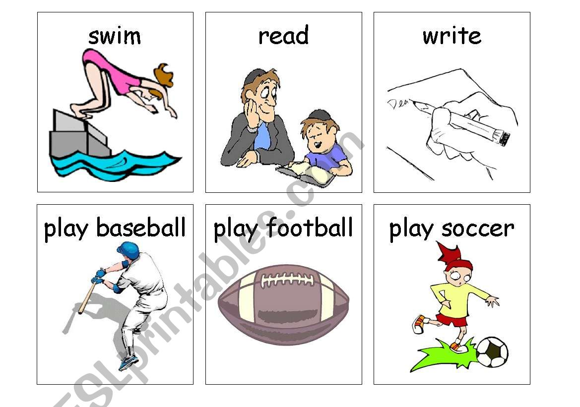 English Worksheets Past Time Action Flashcards