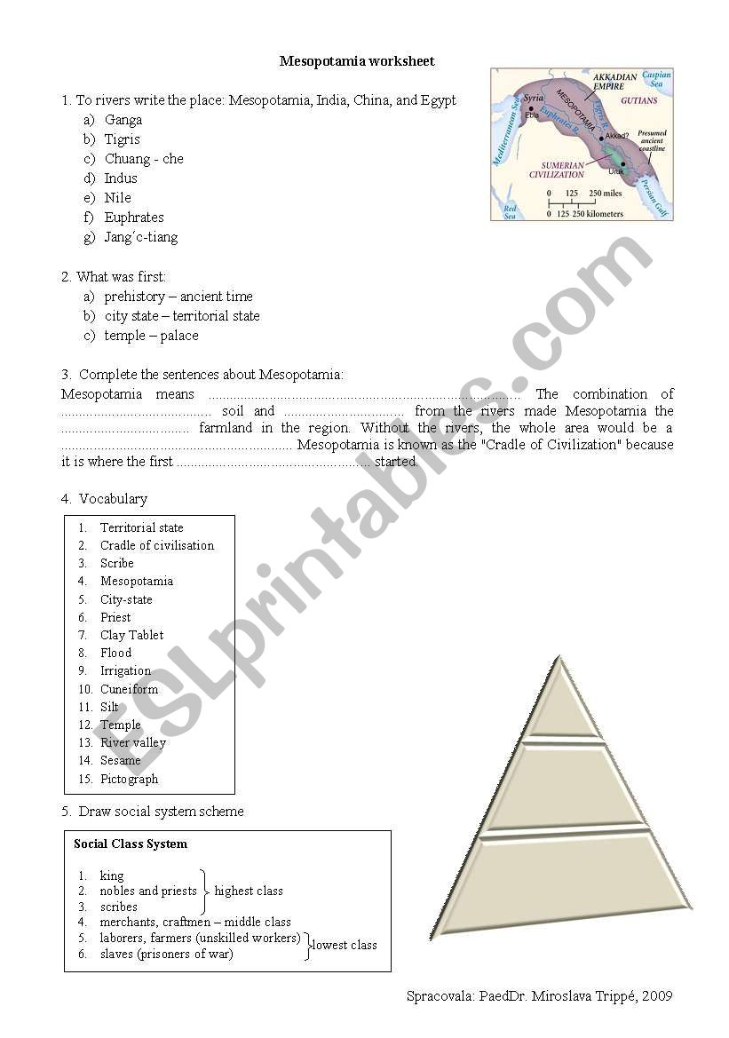English Worksheets Mesopotamia