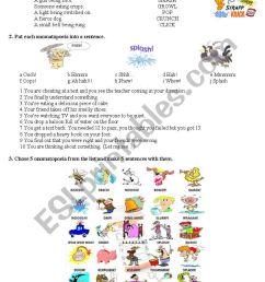 COMICS Part 3 of 5 - Onomatopoeia - ESL worksheet by alexa25 [ 1169 x 821 Pixel ]