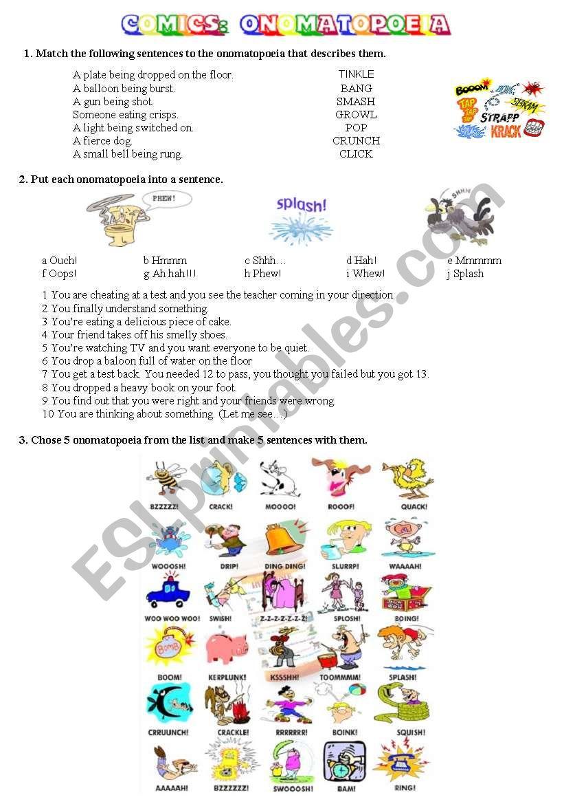 medium resolution of COMICS Part 3 of 5 - Onomatopoeia - ESL worksheet by alexa25