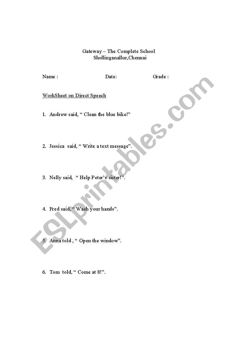 English worksheets: Direct speech to indirect speech