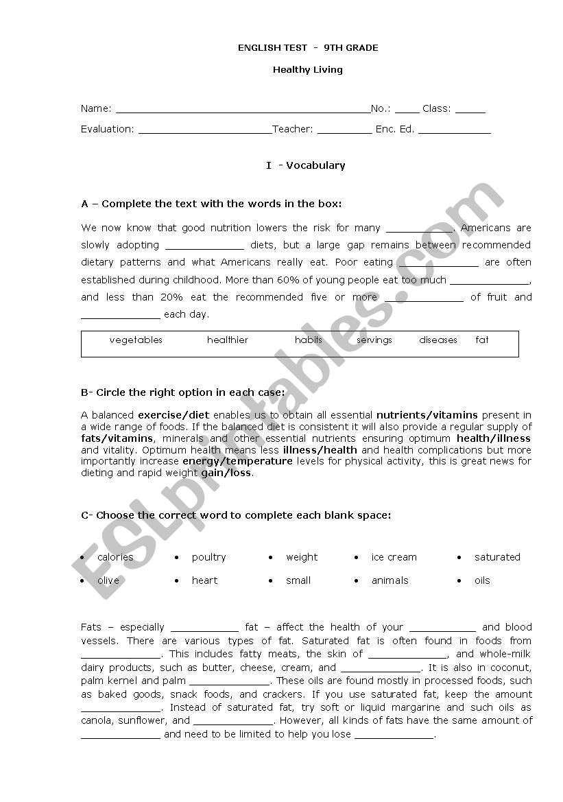 hight resolution of Test 9th grade - Healthy eating/living - ESL worksheet by jungle