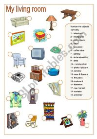 Living Room Matching (Part B) - ESL worksheet by fede117