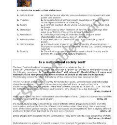 Multiculturalism - ESL worksheet by jungle [ 1169 x 821 Pixel ]
