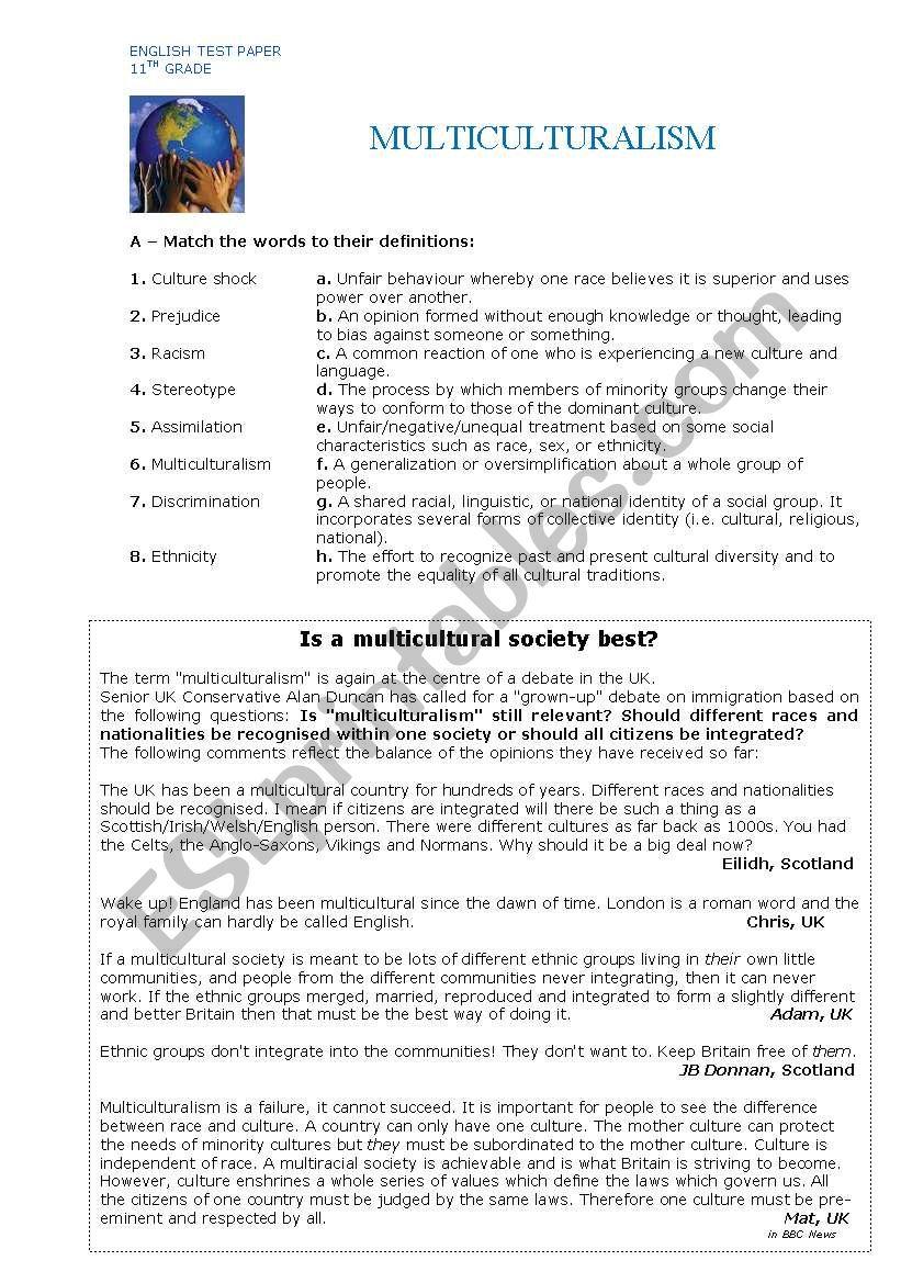 hight resolution of Multiculturalism - ESL worksheet by jungle