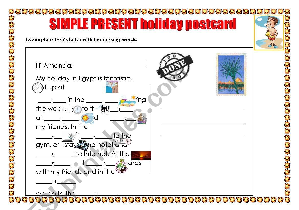Holiday Postcard Simple Present Routines Answers