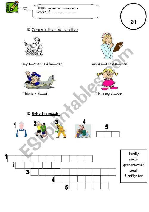 small resolution of writing exam for grade 4 - ESL worksheet by vipgirl