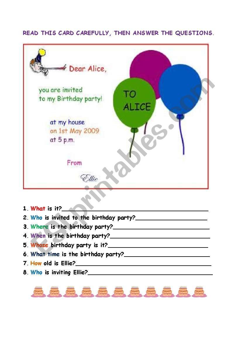 a birthday invitation esl worksheet