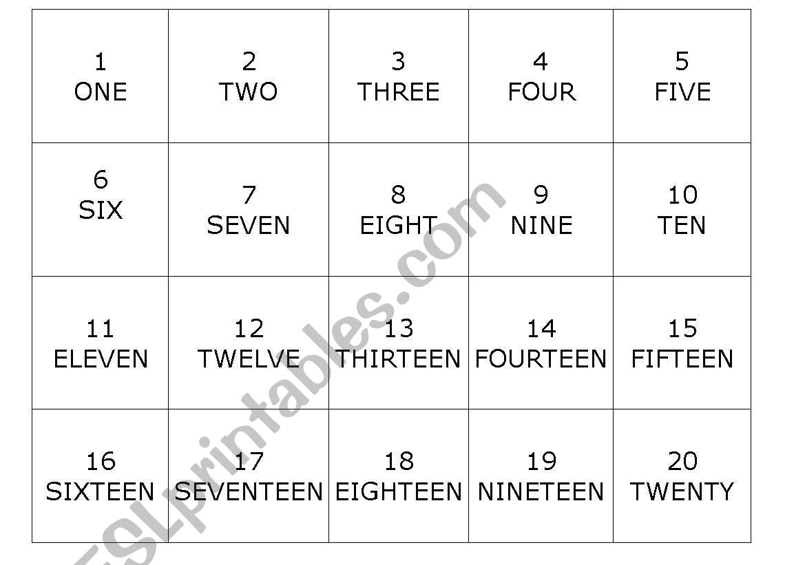 English Worksheets Numbers 1 100