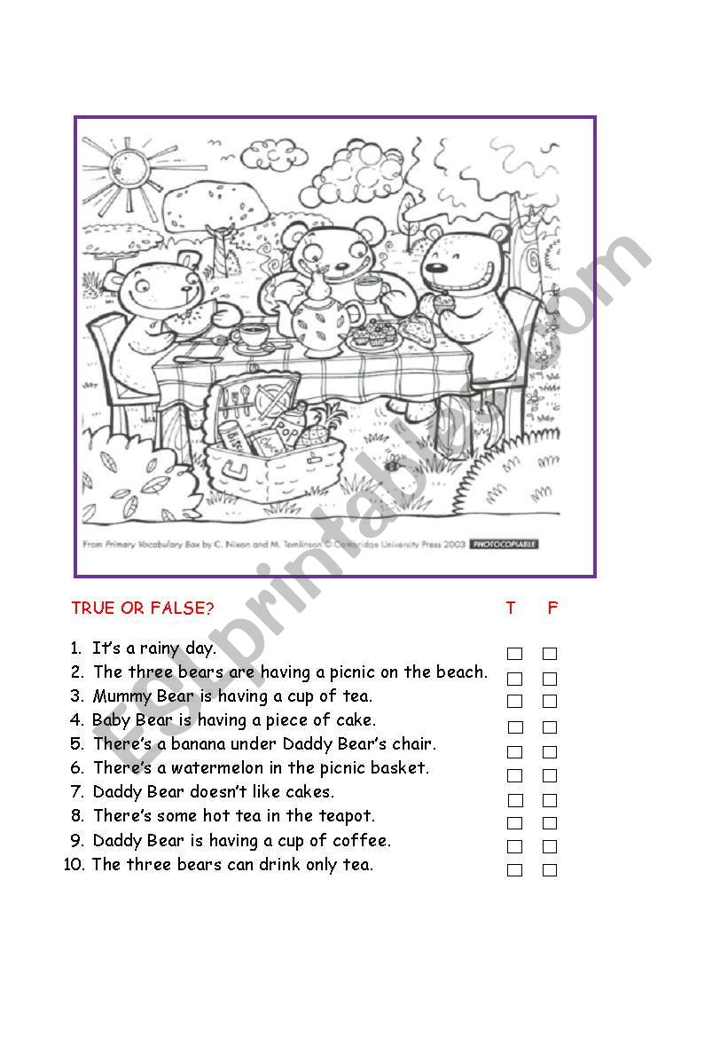 English worksheets: True or false?