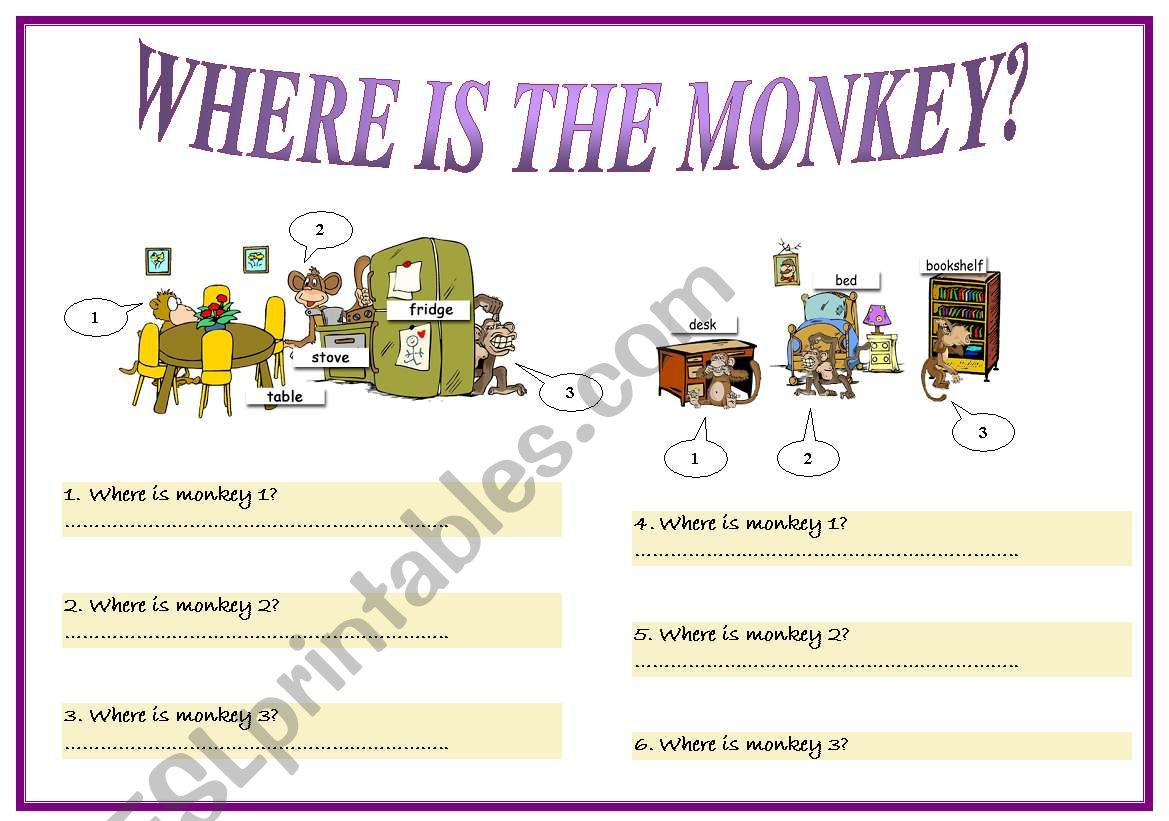 English Worksheets Prepositions Part 1
