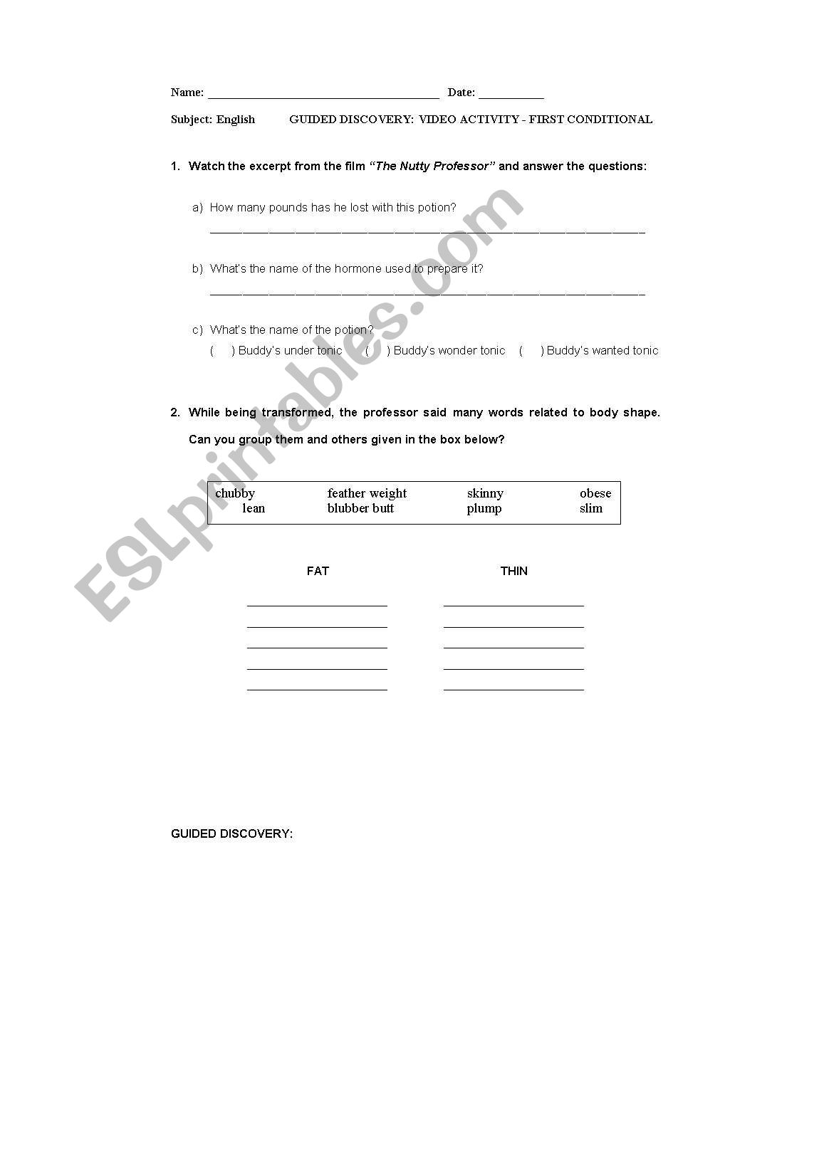 English Worksheets First Conditional Video Activity