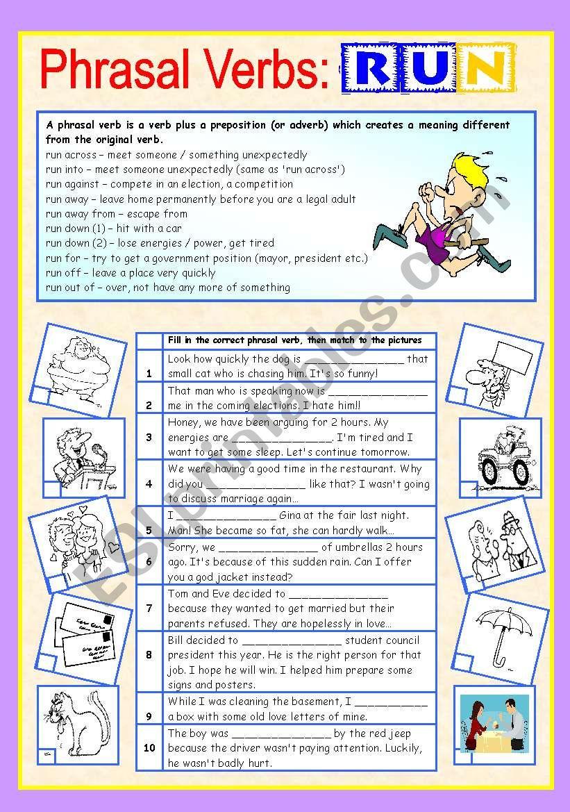 medium resolution of Phrasal verbs (5/10): RUN - ESL worksheet by sharon f