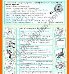 Phrasal verbs (7/10): TURN - ESL worksheet by sharon f [ 1169 x 821 Pixel ]