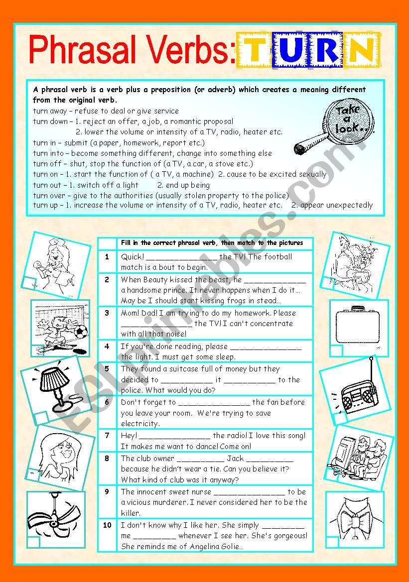 medium resolution of Phrasal verbs (7/10): TURN - ESL worksheet by sharon f