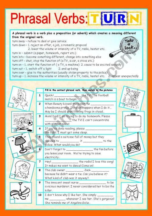 small resolution of Phrasal verbs (7/10): TURN - ESL worksheet by sharon f