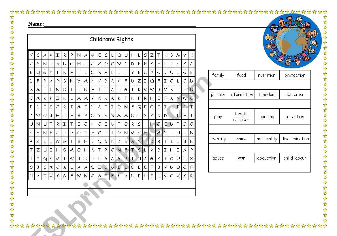 Children S Rights Wordsearch