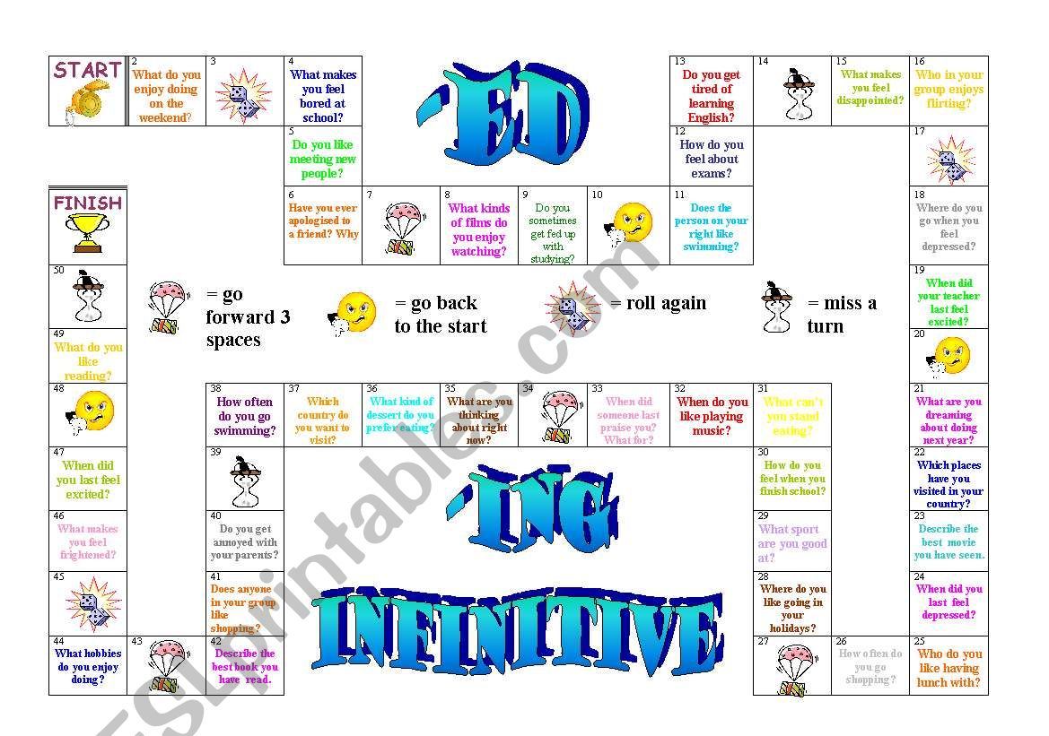 Ed Ing Infiinitive Board Game