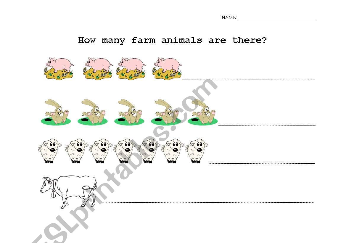English Worksheets Counting Farm Animals