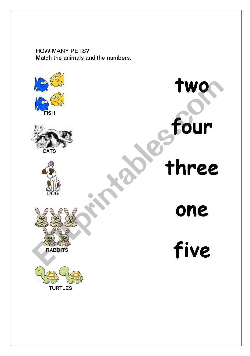 English worksheets: Animals and numbers 1-5