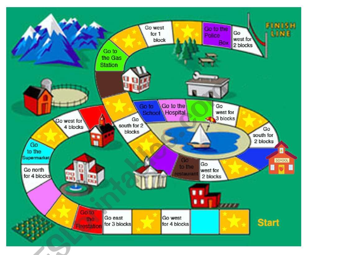 Board Game For Grocery Shopping And Directions